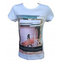 T-shirt LES FILLETTES DE PARIS Surf blanc