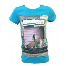 T-shirt LE FILLETTES DE PARIS Surf bleu turquoise