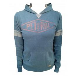 Pull PETROL INDUSTRIES bleu KWH261 - sweat à capuche fin pour enfant - avant