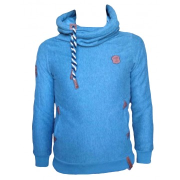 Sweat Squared Col boule bleu turquoise